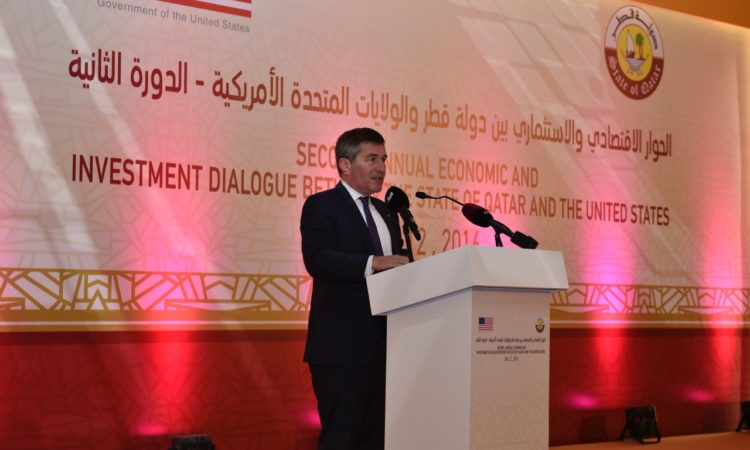 Assistant Secretary of State for Economic and Business Affairs Charles Rivkin addresses the opening session of the Dialogue.